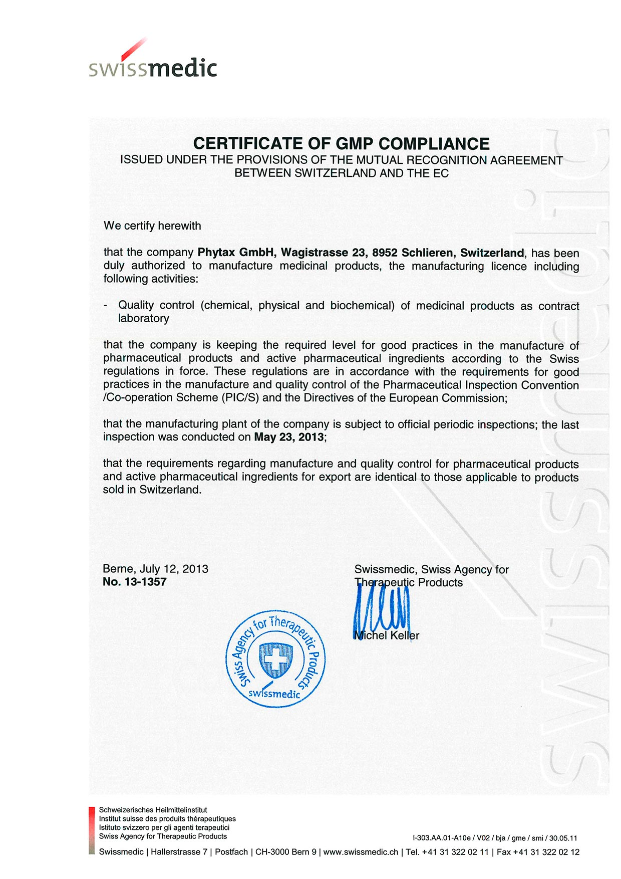 GMP Certificate of Compliance